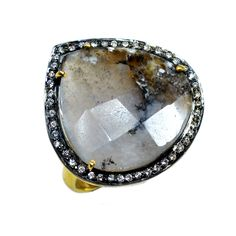 Silvestoo India Dendritic Agate & Cubic Zircon Gemstone 925 Sterling Silver Vermeil Ring US Sz 6.5 Adjustable PG-100712  https://www.amazon.co.uk/dp/B06XXHFP4N