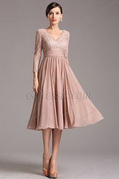 Rosy Brown Tea Length Cocktail Dress with Lace Sleeves Tea Length Cocktail Dresses, Tea Length Dresses, Ball Gown Dresses, Evening Dresses, Lace Wedding Dress With Sleeves, Tea Length Wedding Dress, Lace Sleeves, Wedding Dresses, Mode Chic