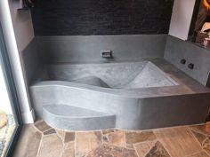 Home Room Design, Home Design Decor, Bathroom Interior Design, House Design, Concrete Bathtub, Diy Bathtub, Beton Design, Concrete Design, Bathtub Shower Combo