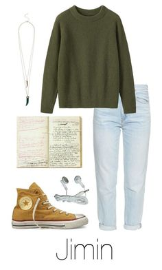 """Writing Music with Jimin"" by btsoutfits ❤ liked on Polyvore featuring M.i.h Jeans, Toast and Converse"