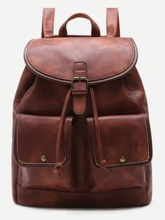 Shop Coffee PU Double Pocket Drawstring Backpack online. SheIn offers Coffee PU Double Pocket Drawstring Backpack & more to fit your fashionable needs.