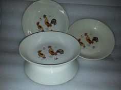 Cereal Bowl set of 4 in Break-O-Day by Taylor Smith & Taylor chicken and rooster