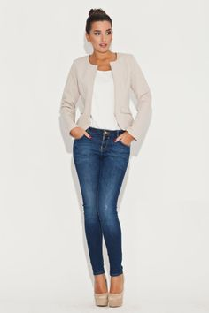 Veste casual beige, manches longues - Mademoiselle Grenade -