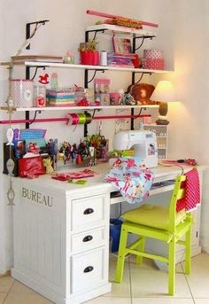 40 Best Small Craft Room and Sewing Room Design Ideas On a Budget 1 - DecoRequired - 40 Best Small Craft Room and Sewing Room Design Ideas On a Budget 53 – DecoRequired - Sewing Room Design, Craft Room Design, Sewing Spaces, Sewing Rooms, Craft Room Decor, Craft Room Storage, Room Organization, Home Decor, Coin Artisanal
