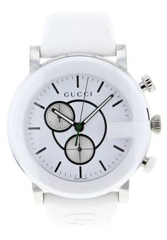 This classic timepiece by Gucci features a stainless steel case and rubber strap. precise quartz movement and a water-resistance level of up to 50 meters finish this fine timepiece. Case: Stainless steel Caseback: Stainless steel, screw-down Dial: White Hands: Black Markers: Black Strap: Rubber Clasp: Buckle Crystal:  t: Quartz Water resistance: 5 ATM/50 meters/165 feet Case measurements: 44mm in diameter x 44mm long x 16mm thick Bracelet measuremen… #gucci #coupay #coupons
