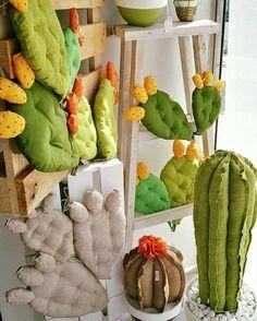 Cactus Craft, Cactus Decor, Felt Flowers, Fabric Flowers, Tiny Cactus, Felt Succulents, Felt Pillow, Soft Sculpture, Stuffed Toys Patterns