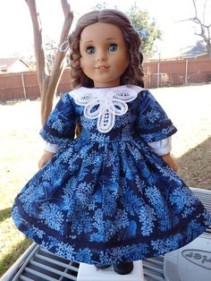 """18"""" Doll Clothes Civil War / Mid 1800's Style Gown Fits American Girl Marie Grace, Cecile, Addy"""