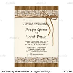 Lace Wedding Invitation With Twine