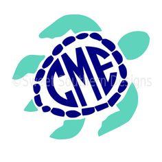 Sea turtle monogram SVG instant download design by SSDesignsStudio