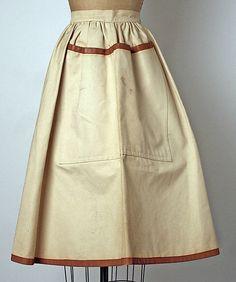 Apron Bonnie Cashin  (American, 1915–2000) Date: spring 1954 Culture: American Medium: cotton, leather