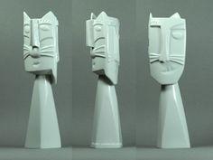 http://stores.ebay.de/universal-arts  OTMAR ALT - Cat Light  2  Weiss Kerzenleuchter 1 Stck.Skulptur Kerzenhalter