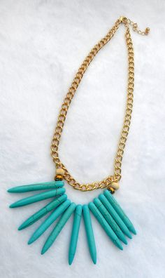 Bright Turquoise Bead Necklace  Multi Strand by ByKeeksWithLove