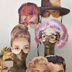 - These half-masks of famous faces by Cox & Cox are perfect for your next masquerade or costume party. Each pack includes eight different half-masks,. It Icons, Party Fotos, Foto Fun, Half Mask, Offbeat Bride, Photo Booth Props, Photo Booths, Mask Party, Hipster