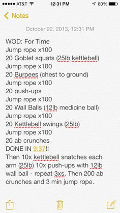 Love doing circuit training for time! Thanks to the Naples for sharing this awesome workout! To give an idea of the difficulty of this workout, the other folks finished the circuit at 14 minutes!