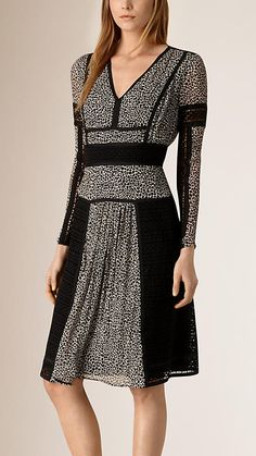 Natural white Paneled Lace and Leopard Print Silk Dress - Image 1