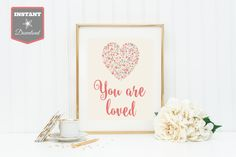 INSTANT DOWNLOAD 8x10 or 11x14 You Are Loved Printable Wall Art / Nursery / Girl / Baby / Scripture / Item #2501 by DivinePartyDesign on Etsy