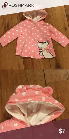 Puppy eared zippered hoodie.  3-6 mo Zipper hoodie with puppy and bow. Macy's Shirts & Tops Sweatshirts & Hoodies