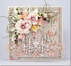 bev-rochester-scrapineic-chandelier, Card with lace and flowers
