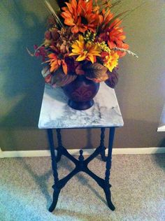 Marble top plant stand / table, Still Available! Plant Table, Marble Top, Tables, Plants, Diy, Home Decor, Mesas, Decoration Home, Bricolage