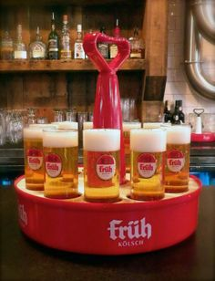 The perfect pour! A tray of Früh Kölsch beer. All the way from Cologne Germany, now in Canada.