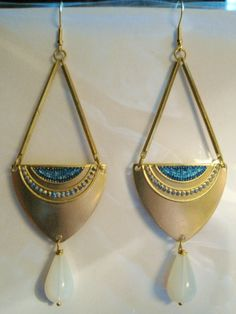 Egyptian earrings very long Egyptian Revival Art Deco statement earrings Czech glass opal teardrops gold filled hooks