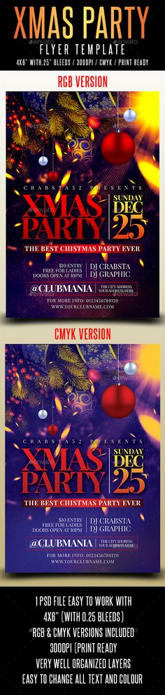 Xmas Party Flyer Template is very modern psd flyer that will give the perfect promotion for your upcoming event or club parties! 1 PSD file46 size with 0.25 bleeds Simple and easy to work with RGB and CMYK versions/300dpi and Ready to print, Very well organise