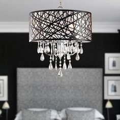 Shop for silver mist hanging crystal drum shade chandelier by shop for silver mist hanging crystal drum shade chandelier by inspire q classic get free shipping at overstock your online home decor outlet aloadofball Image collections