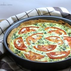 This savory Tomato Bacon Spinach Quiche is perfect for breakfast, lunch or dinner. Make it the night before, have a quick breakfast in the morning!