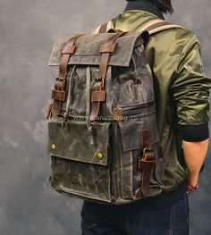 waxed canvas backpack men