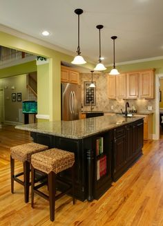 Cabinets and island different colors