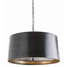 "This hand hammered iron drum shade pendent features a bronze finish with a double diffuser suspended from within. Perforated metal bottom allows light to illuminate and suspends from matching linked chain. The pendant takes three 40 watt max bulbs and comes with 3 feet of chain. It measures 22.5"" in diameter X 11""H. Click on images for greater detail."