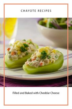 Chayote recipes: filled and baked with cheddar cheese Chayote Recipes - Chayote recipes - Yorgo Chayote Recipes, Veggie Recipes, Mexican Food Recipes, Baking Recipes, Keto Recipes, Ethnic Recipes, Protein Recipes, Tamales, Costa Rican Food