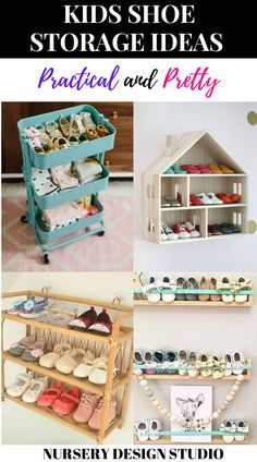 Kids accumulate a lot of shoes and they often litter the entryway or mudroom. Here are some fabulous kids shoe storage ideas to keep messes at bay. Kids Shoe Organization, Nursery Organization, Organizing, Baby Shoe Storage, Nursery Storage, Baby Nursery Diy, Baby Room, Diy Baby, Nursery Ideas