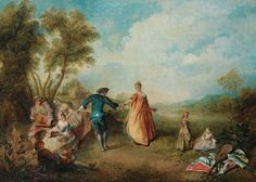The Enjoyments of the Countryside (Les agréments de la campagne). Oil on canvas, by Nicolas Lancret (1690-1743), private collection