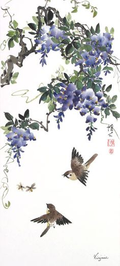 Chinese Brush Painting: wisteria triptych with bees and sparrows