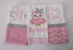 Personalized Monogrammed Baby Girl Set of 3 Burp Cloths Pink and Grey Chevron and Polka Dots on Etsy, $24.00