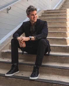 """Parker York Smith on Instagram: """"Steps are such an underrated seat. Don't sleep on a black suit, friends. Such a great thing to have as a dressy option or for more business…"""""""
