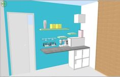 arrange a desk space sewing the plan Coin Couture, Desk Space, Bench With Storage, Home Jobs, Sweet Home, Shelves, Sewing, Room, Diy