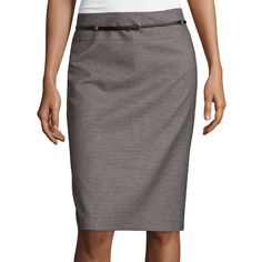 Liz Claiborne Belted Pencil Skirt (12.450 HUF) ❤ liked on Polyvore featuring skirts, zipper skirt, knee length pencil skirt, belted skirts, belted pencil skirt and thin belt