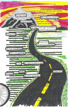 This blackout poem displays the setting being described by the words on the page.