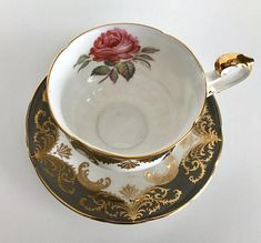 """Vintage grey Paragon """"Antique Rose"""" china tea cup and saucer, made in England. Beautiful, and very useable tea cup, the saucer is signed by the artist. They are in good condition, no chips, cracks or crazing. Please Note: The items I sell are not new, they are vintage or antiques,"""