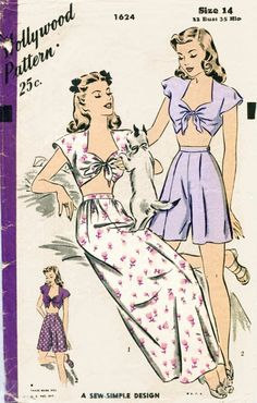 vintage pajama front tie crop top by LadyMarloweStudios Vintage Pattern Design, Motif Vintage, Vintage Dress Patterns, Clothing Patterns, Flower Vintage, Vogue Vintage, Look Vintage, Vintage Tops, Vintage Fashion