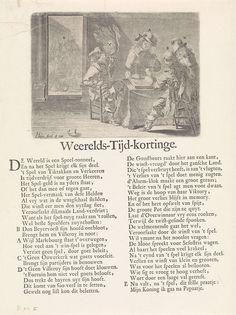 Pieter Nolpe | Triktrak spel om Bergen, 1709, Pieter Nolpe, 1623 - 1653 | Interieur waarin vier heren: de hertog van Marlborough, de heer van Ouwerkerk, de hertog van Villeroy en de keurvorst van Beieren, triktrak spelen om de stad Mons (Bergen), 1709. Op de achtergrond koning Filips V met een vrouw in de slaapkamer. Op het blad onder de plaat een vers in één kolom in het Nederlands. De prent verwijst naar het beleg en de verovering van Mons door de Geallieerden op de Fransen in 1709.