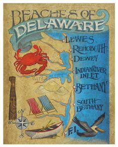Delaware Beach Map Poster Print by Zeke?s Antique Signs x Bethany Beach, Antique Signs, Coastal Art, Beach Signs, Sign Printing, Beach House Decor, Map Art, Art Decor, Fine Art Prints