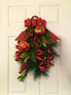 Christmas Swag Wreath Evergreen Christmas by ThePinkGardenias