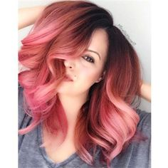 Super cool Rose Gold Hair Color by jedihair Gold Hair Colors, Fuschia Hair, Lilac Hair, Blue Hair, Coloured Hair, Rose Gold Hair, Cool Hair Color, Ombre Hair, Ombre Rose