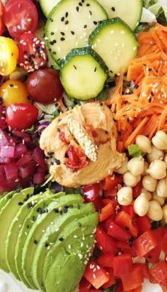Rainbow Super Salad with Hummus