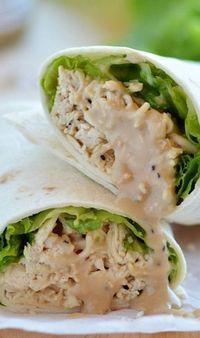 Chicken Caesar wraps - uses chicken, Caesar dressing & parm cheese w/ chopped romaine. Yum!!