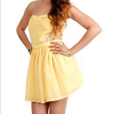 Yellow tube dress Brand new; lace on the side of the dress; have multiple sizes Dresses Mini