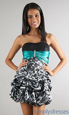 Short Strapless Print Dress at SimplyDresses.com